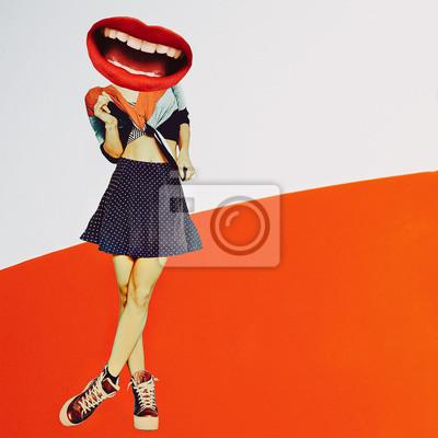 Současná umělecká koláž. Koncept Slevy a prodej kosmetiky. Vintage Lady Červené rty.