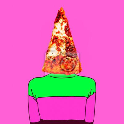 Současná umělecká koláž. Minimální koncept. Kousek pizzy. Jen jeden