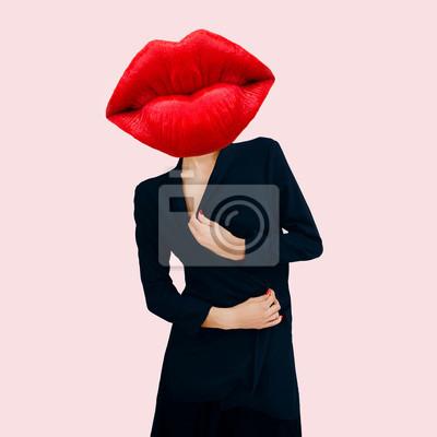Současná umělecká koláž. Smyslné červené rty. Minimální design módy. Koncepce kosmetiky a šarmu