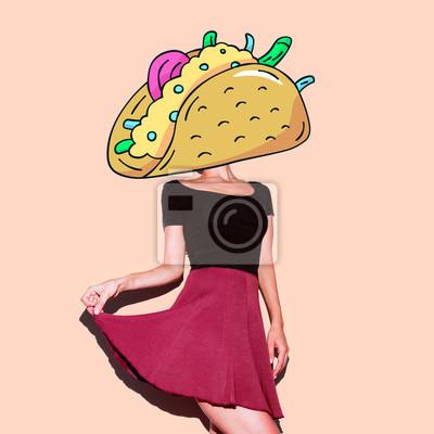 Současné umění koláž. Lady Tacos. Minimální projekt Funny Fast food