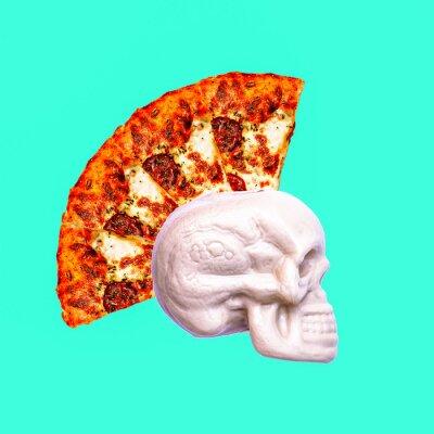 Současné umění koláž. Pizza punk lebka. Minimální projekt rychlého občerstvení