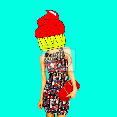 Současné umění minimální koláž. Dort módní lady. Minimální projekt Funny Fast food