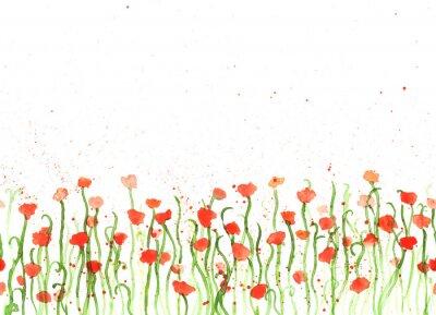 Obraz Souvislosti s ruční kresba akvarel rudého máku na bílém. Bezešvé nápis s květinami. Ruční malba barva copy space hranice.