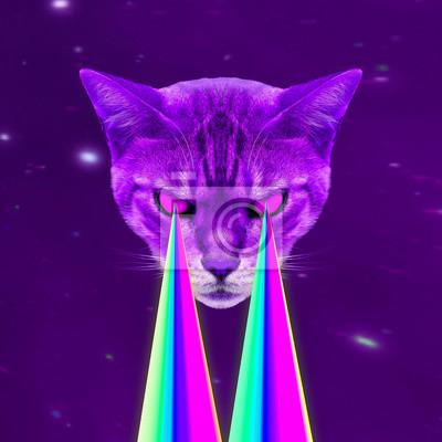 Space Cat s lasery z očí. Minimální koláž módní koncept
