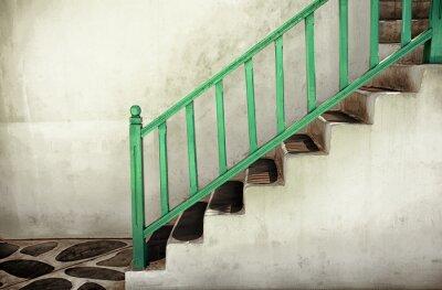 Obraz Špinavé schody se zábradlím