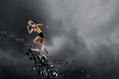 Obraz Sportovní žena překonání problémů