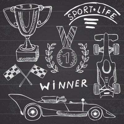 Obraz Sports Car položek čmáranice prvky. Ručně malovaná set s ikonou vlajky. Kostkovaná závodní vlajky nebo první místo Cup. Medaile a rasing auto, závod vektorové ilustrace. Kreslení kolekce doodle izolov