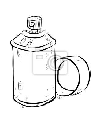 Sprej Kresleny Vektorove A Ilustrace Cerne A Bile Rucne Malovana