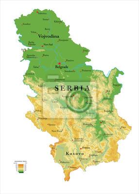 Srbská fyzická mapa