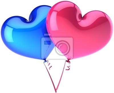 21c0e563d16f Srdce balónky barevné modré a růžové. heterosexuální láska obrazy na ...