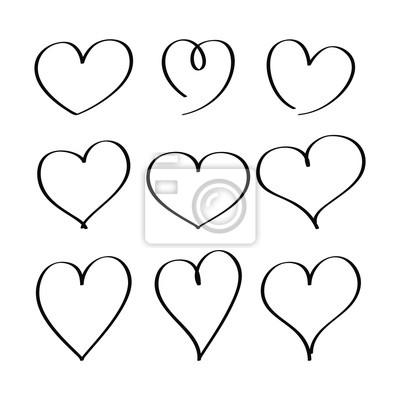 Srdce Kreslene Znackou Sada Rucniho Kresleni Srdce Obrazy Na Stenu