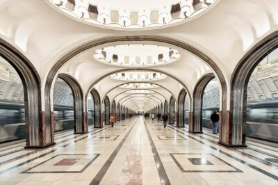 Obraz Stanice metra Mayakovskaya v Moskvě, v Rusku