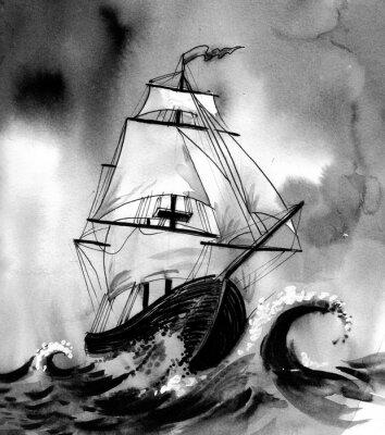 Obraz Stará loď v rozbouřeném moři