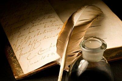 Obraz Staré knihy s perem a kalamáře