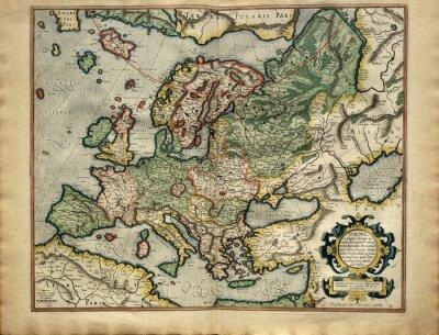 Obraz Staré mapy Evropy, tištěný v roce 1587 podle Mercator