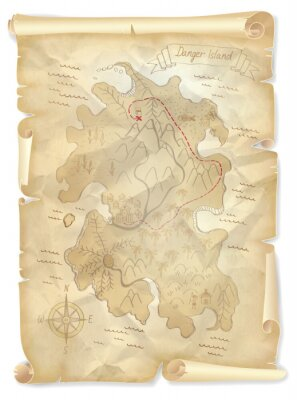 Obraz Staré mapy piráti ostrov pokladů s vyznačenou polohou, vektorové ilustrace