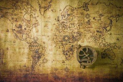 Obraz staré mapy s kompasem
