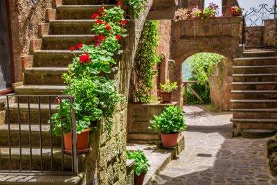 Staré město plné květnaté verandy v Toskánsku