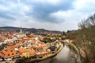 Obraz Staré město pohled z českokrumlovského zámku v zatažené obloze