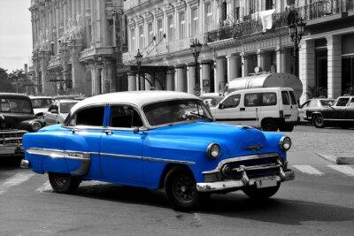 Obraz Staré modré americké auto v Havaně na Kubě