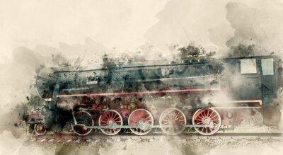 Obraz Staré parní lokomotivy 20. století. Akvarel pozadí