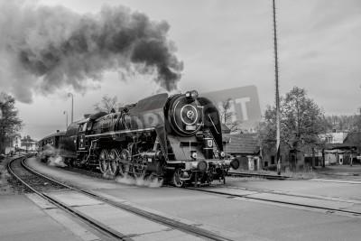 Obraz Staré parní vlak v černé a bílé
