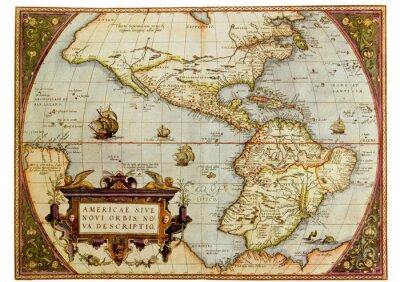 Obraz Starověká mapa Ameriky. Foto ze staré reprodukci