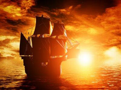 Obraz Starověké pirátská loď plující na oceánu při západu slunce