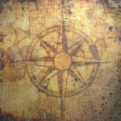 Obraz Starý kompas na papírové pozadí