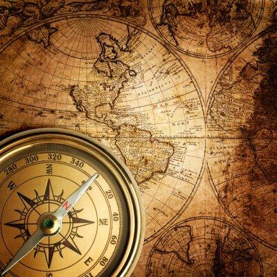 Obraz starý kompas na vinobraní mapě 1746