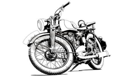 Obraz starý motocykl ilustrační