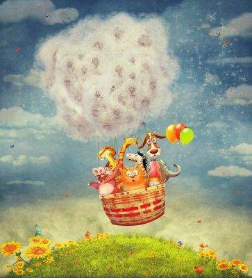 Obraz Šťastná zvířata v balónu na obloze - ilustrační výtvarné