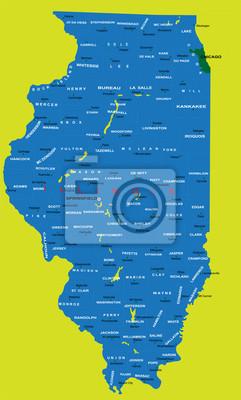 Stát Illinois politické mapě
