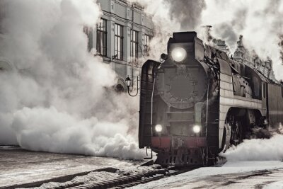 Obraz Steam train departs from Riga railway station. Moscow.