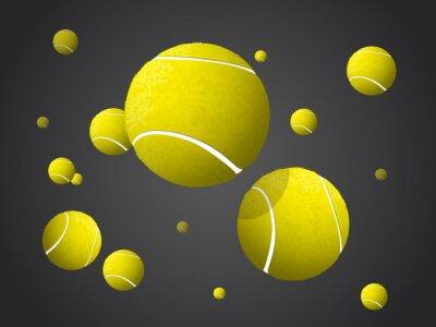 Obraz Stěhování Tenisové míče létání, padající izolovaných na tmavém pozadí.