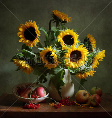 Obraz Still life with sunflowers and apples