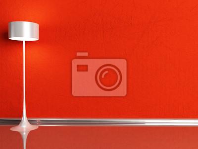 stojací lampa v červeném pokoji