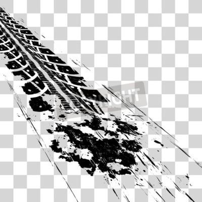 Obraz Stopy pneumatik. Vektorové ilustrace onon kostkovaný pozadí