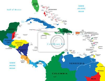 Střední Amerika a Karibik mapa