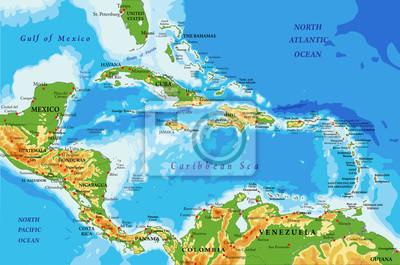 Střední Amerika a karibské ostrovy fyzická mapa