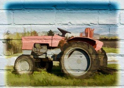 Obraz Street art, tracteur agricole