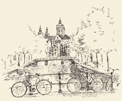 Obraz Streets ve městě Amsterdam, vektorové ilustrace