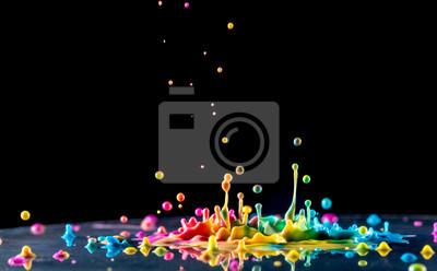 Obraz stříkající barevný inkoust na černém pozadí