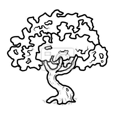 Strom Kresleny Vektorove A Ilustrace Cerne A Bile Rucne