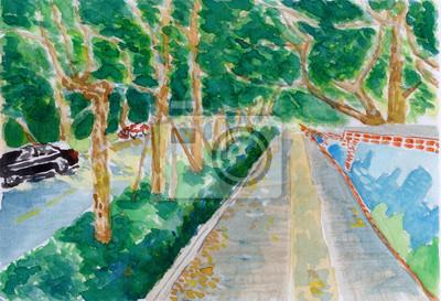 strom stezka, akvarel