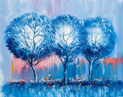 Obraz Stromy, olejomalba, umělecké pozadí