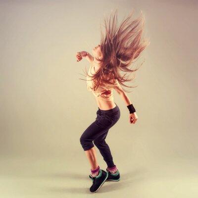 Obraz Studio střílet z aktivní ženské funk Jazz tanečnice v pohybu.