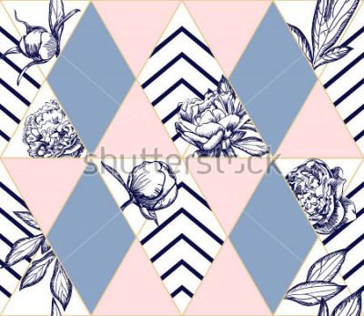 Obraz Stylový módní geometrický bezešvý vzor s květinami pivoňky. Ideální textura pro módu. Vektorový designový prvek