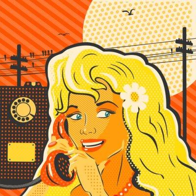 Obraz Stylu pop art dívka s telefonem