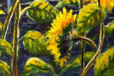 Obraz sunflowers in sun Original oil painting of sunflower flowers, beautiful sunflowers flowers on canvas. Modern Impressionism.Impasto artwork.